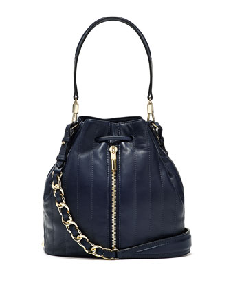 Cynnie Quilted Bucket Bag, Navy