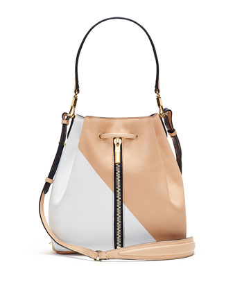 Cynnie Colorblock Bucket Bag, White/Navy/Tan