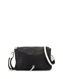 Cynnie Medium Perforated Crossbody Bag, Black/Ivory