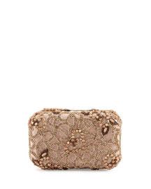 Hard-Shell Embellished Satin Clutch Bag, Rose Golden