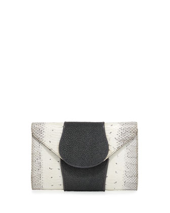 Babo Watersnake & Stingray Clutch Bag, White/Smoke