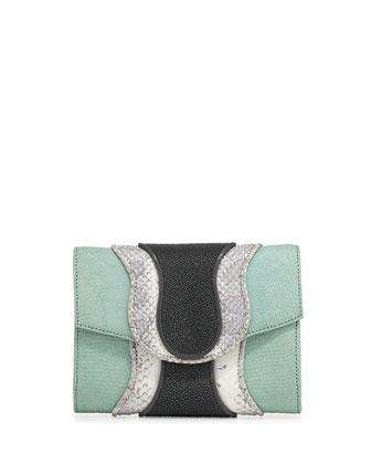 Jolie Mixed-Media Clutch Bag, Mint/White/Smoke