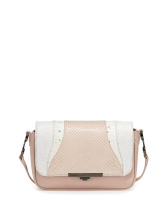 Diamond Mixed-Media Crossbody Bag, Rose/Pearl