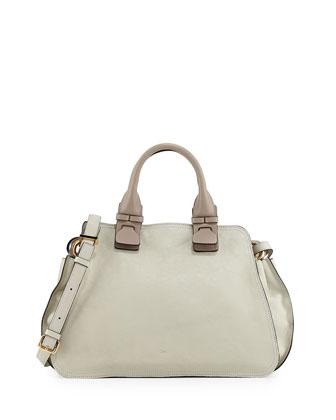 Fynn Small Double-Handle Satchel Bag, Light Gray