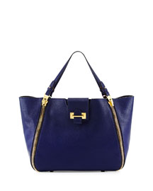 Sedgwick Double-Zip Leather Tote Bag, Cobalt