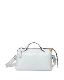 By The Way Small Python Satchel Bag, White/Yellow