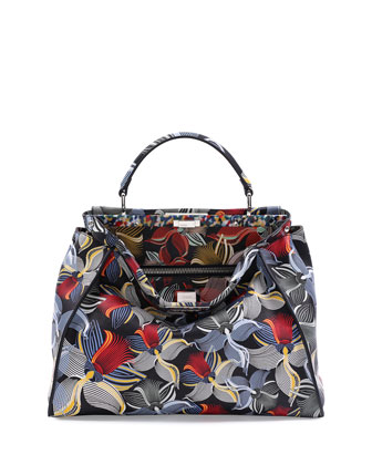 Peekaboo Large Orchid-Print Satchel Bag