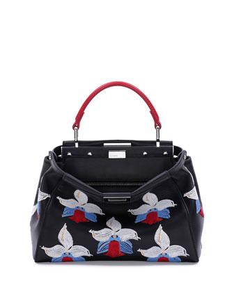 Peekaboo Mini Orchid-Embroidered Satchel Bag, Black