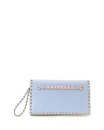 Rockstud Flap Wristlet Clutch Bag, Watercolor