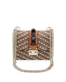 Crystal Mini Rockstud-Trim Flap Bag, Multicolor