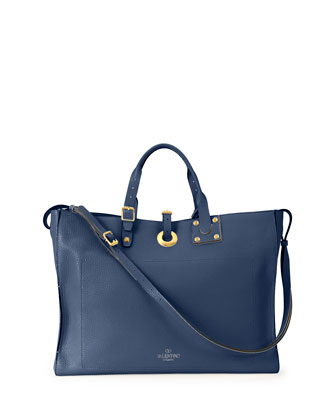 Eye on You Tote Vitello Tote Bag, Blue