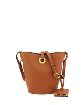 Eye on You Vitello Bucket Bag, Tan