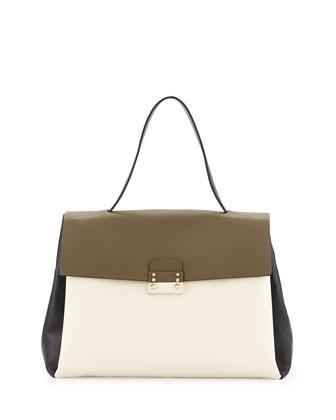 Tricolor Calfskin Satchel Bag, Multicolor