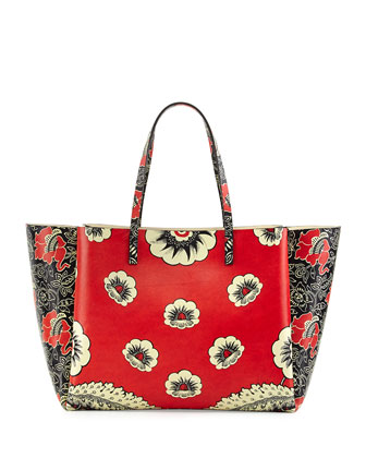 Covered Mixed Floral-Print Tote Bag, Red Multi