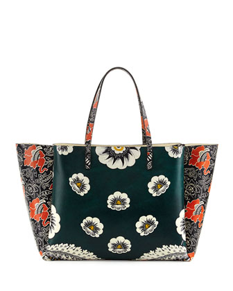 Covered Mixed Floral-Print Tote Bag, Green/Raspberry