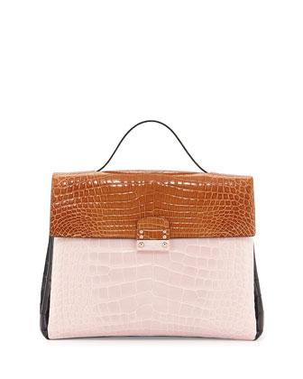 Tricolor Crocodile Satchel Bag, Pink/Brown/Black