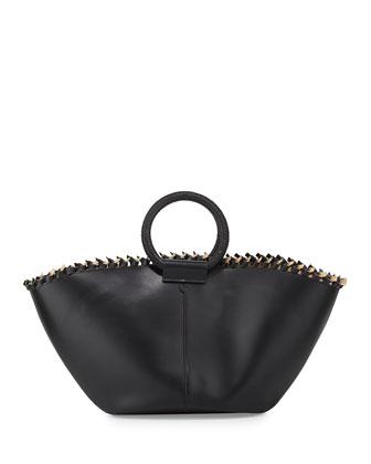 Leather Market Bag, Black
