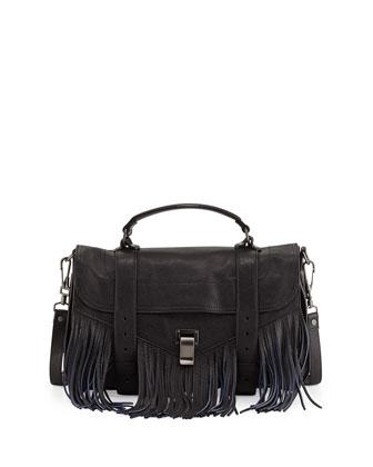PS1 Medium Bicolor Fringe Satchel Bag, Black/Blue