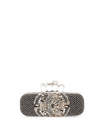 Knuckle Beaded Box Clutch Bag