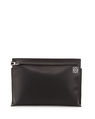Large Leather Pouch Bag, Black