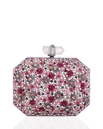 Iris Beaded Box Clutch Bag, Pink