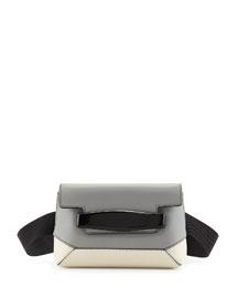 Bridge Colorblock Belt Bag, Gray/White