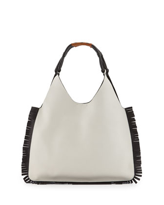 Two-Tone Fringe Hobo Bag