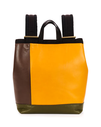 Colorblock Leather Parachute Backpack