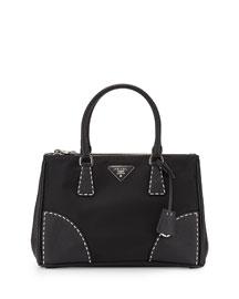 Tessuto and Saffiano Stitch Tote Bag, Black (Nero)