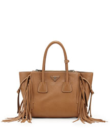 Fringe Twin Pocket Tote Bag, Caramel (Caramel)