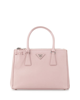Saffiano Lux Double-Zip Tote Bag, Light Pink (Mughetto)