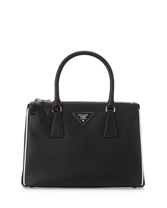 Saffiano Lux Double-Zip Tote Bag, Black/White (Nero+Talco)