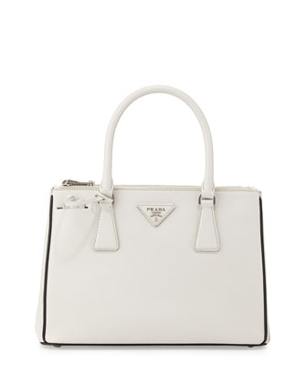 Saffiano Lux Double-Zip Tote Bag, White/Black (Talco+Nero)