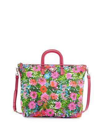 Floral-Print Nylon Tote Bag, Pink Floral (Pink Dis Primule)