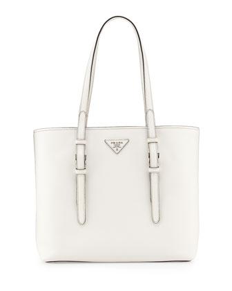 Saffiano Soft Tote Bag, White (Bianco)