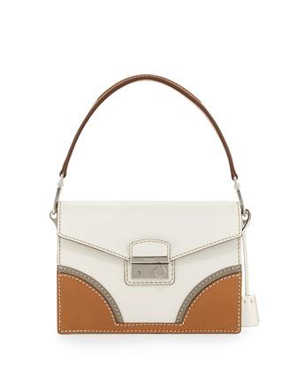 Vachetta Bicolor Shoulder Bag, White/Natural (Talco+Naturale)