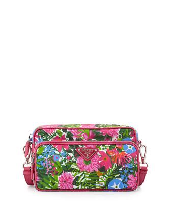 Tessuto Printed Crossbody Bag, Pink Floral (Pink Dis Primule)