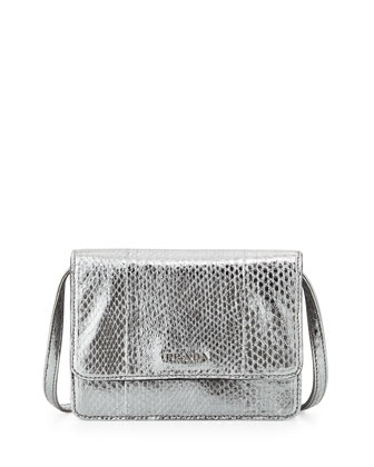 Metallic Snake Lux Mini Crossbody Bag, Chrome (Chrome)