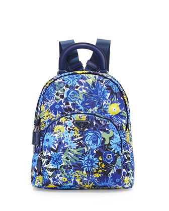 Tessuto Stampato Floral Backpack, Blue Floral (Bluette Dis Primule)