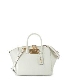Brera32 Ostrich Satchel Bag, White