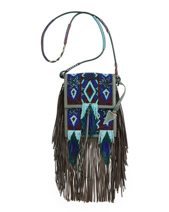 Beaded Fringe Mini Crossbody Bag, Blue Multi