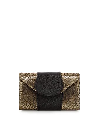 Babo Snake & Stingray Clutch Bag, Gold/Black