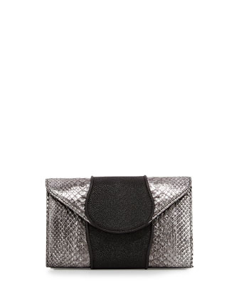 Babo Snake & Stingray Clutch Bag, Silver/Black