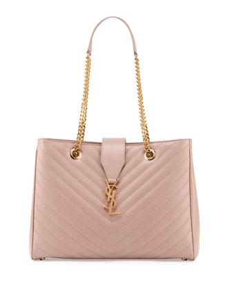 Monogramme Matelasse Shopper Bag, Pale Blush