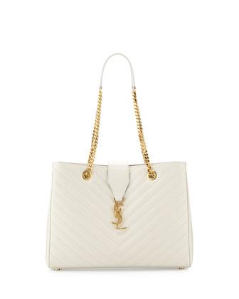 Monogramme Matelasse Shopper Bag, White