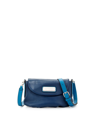 New Q Percy Flap Crossbody Bag, Deep Blue Multi