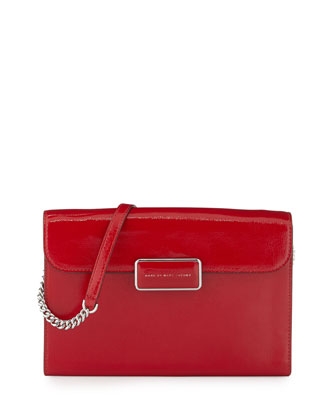 Pegg Patent Crossbody Bag, Rosey Red
