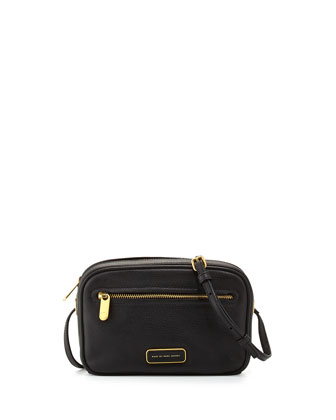 Sally Leather Crossbody Bag, Black