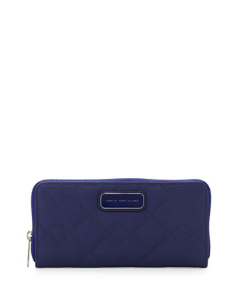 Sophisticato Quilted Slim Zip Wallet, Mineral Blue