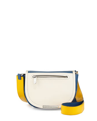 Luna Flap-Top Crossbody Bag, White/Blue